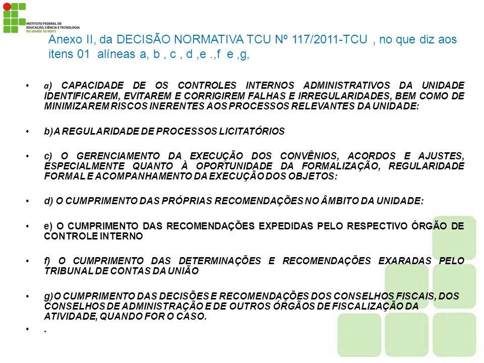 Anexo II, da DECISÃO NORMATIVA TCU Nº 117/2011-TCU , no que diz aos itens 01 alíneas a, b , c , d ,e .,f e ,g,
