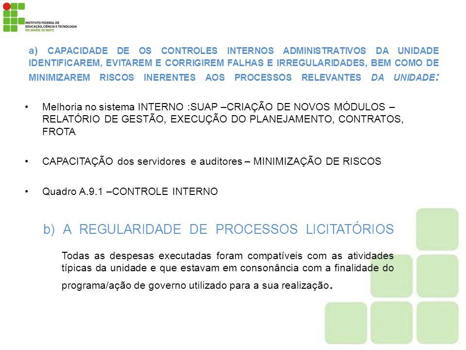 b) A REGULARIDADE DE PROCESSOS LICITATÓRIOS
