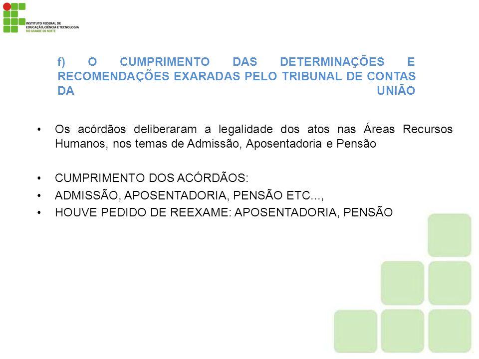f) O CUMPRIMENTO DAS DETERMINAÇÕES E RECOMENDAÇÕES EXARADAS PELO TRIBUNAL DE CONTAS DA UNIÃO