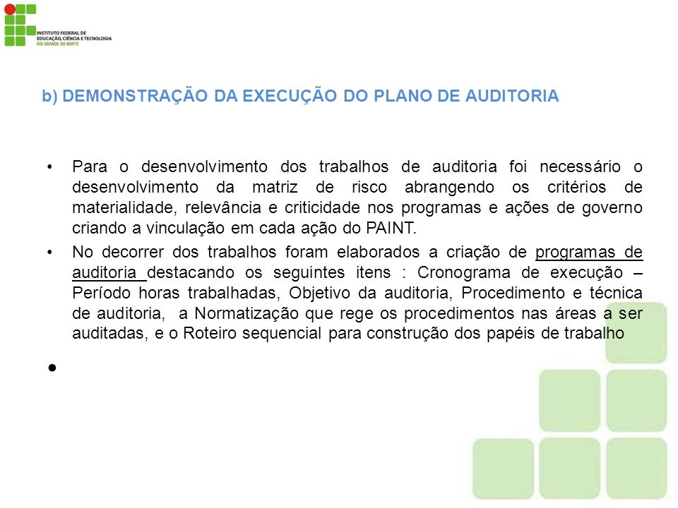 b) DEMONSTRAÇÃO DA EXECUÇÃO DO PLANO DE AUDITORIA
