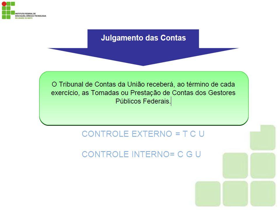 CONTROLE EXTERNO = T C U CONTROLE INTERNO= C G U
