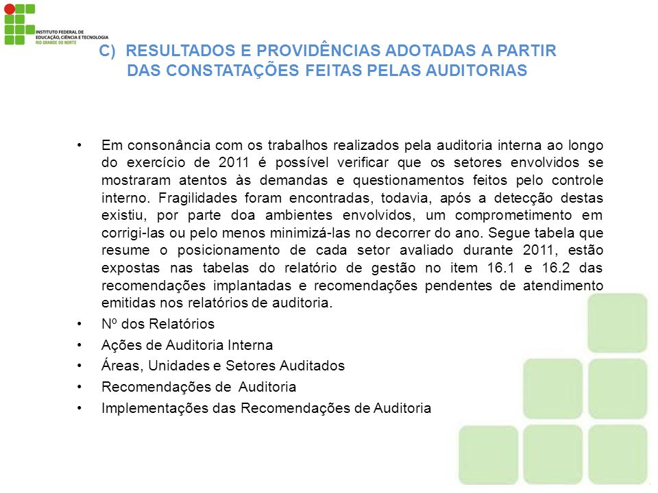 C) RESULTADOS E PROVIDÊNCIAS ADOTADAS A PARTIR DAS CONSTATAÇÕES FEITAS PELAS AUDITORIAS