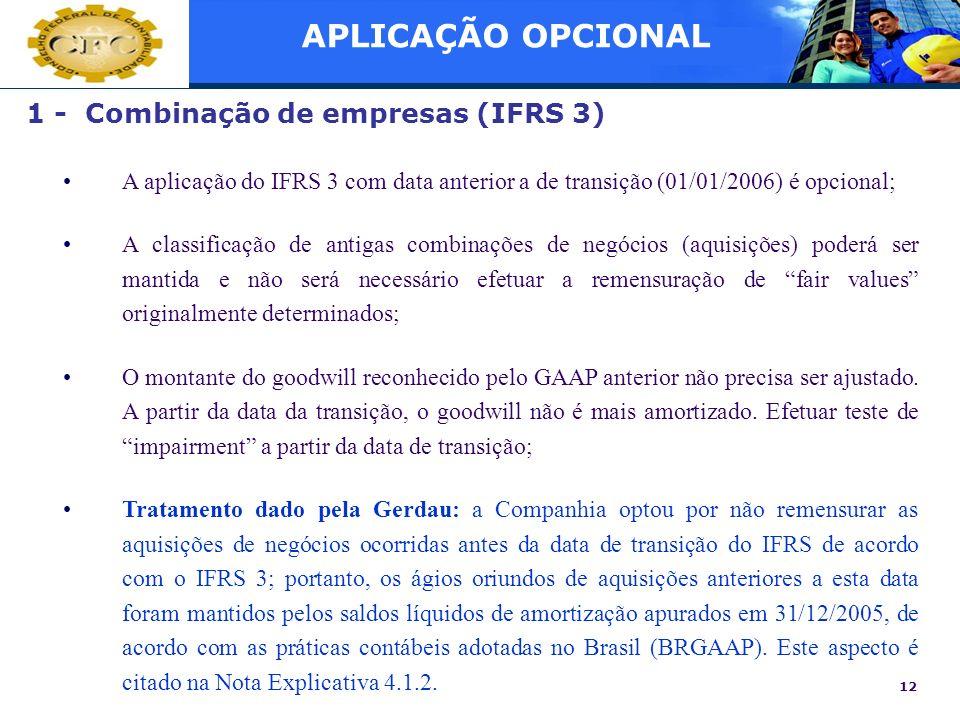 APLICAÇÃO OPCIONAL 1 - Combinação de empresas (IFRS 3)