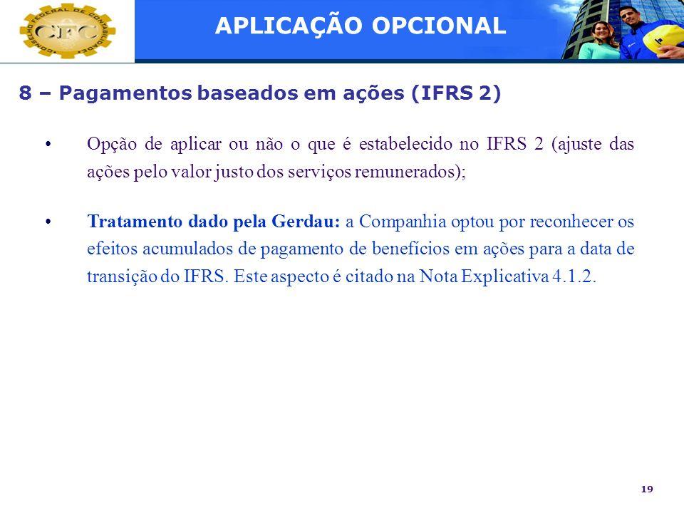 APLICAÇÃO OPCIONAL 8 – Pagamentos baseados em ações (IFRS 2)