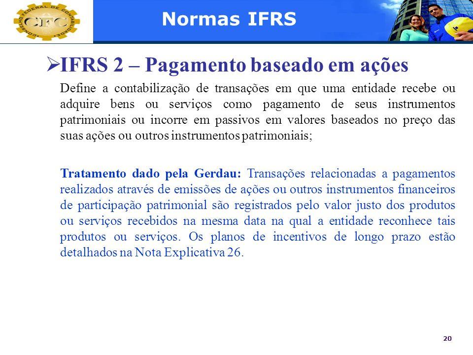 IFRS 2 – Pagamento baseado em ações