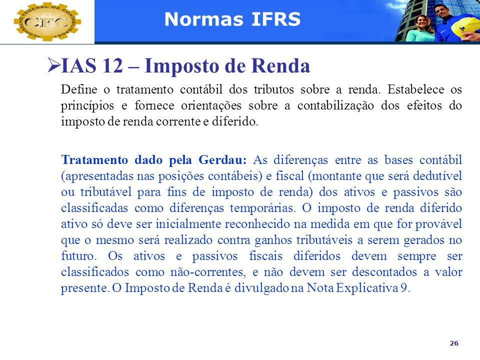 IAS 12 – Imposto de Renda Normas IFRS