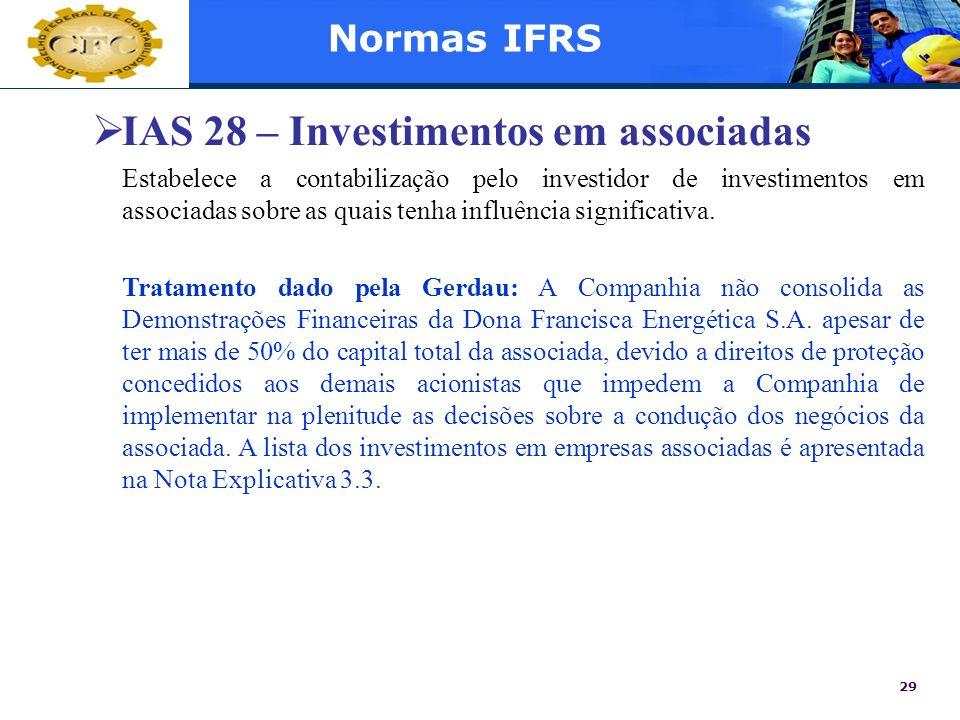 IAS 28 – Investimentos em associadas