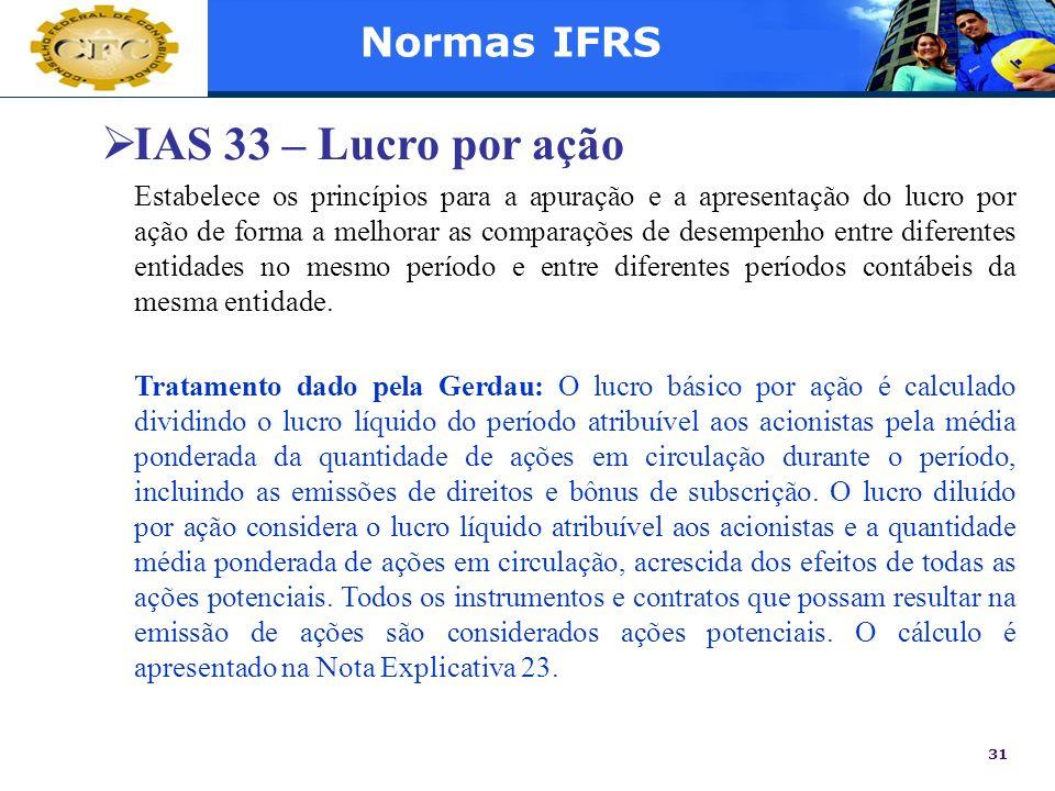 IAS 33 – Lucro por ação Normas IFRS