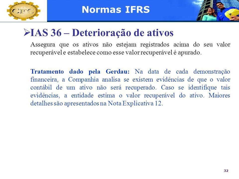 IAS 36 – Deterioração de ativos
