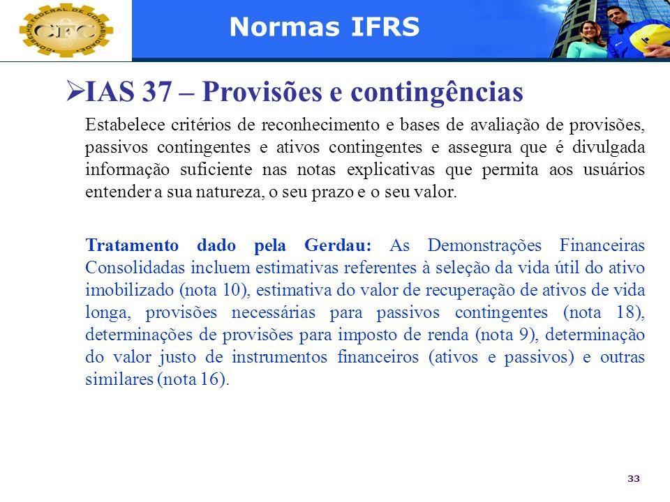 IAS 37 – Provisões e contingências