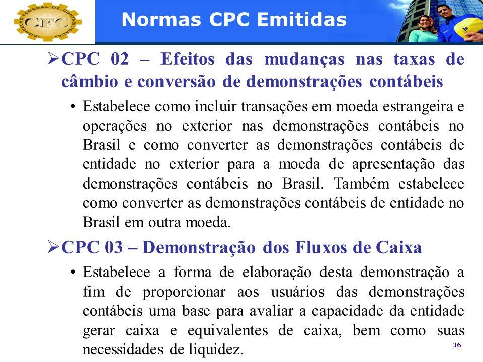 CPC 03 – Demonstração dos Fluxos de Caixa