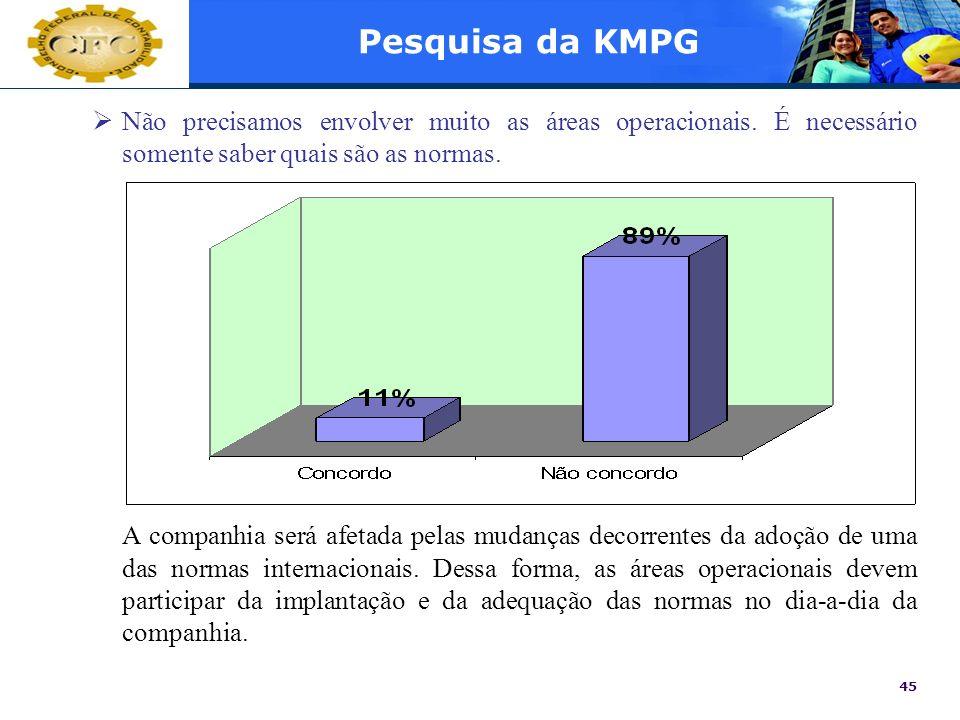 Pesquisa da KMPGNão precisamos envolver muito as áreas operacionais. É necessário somente saber quais são as normas.