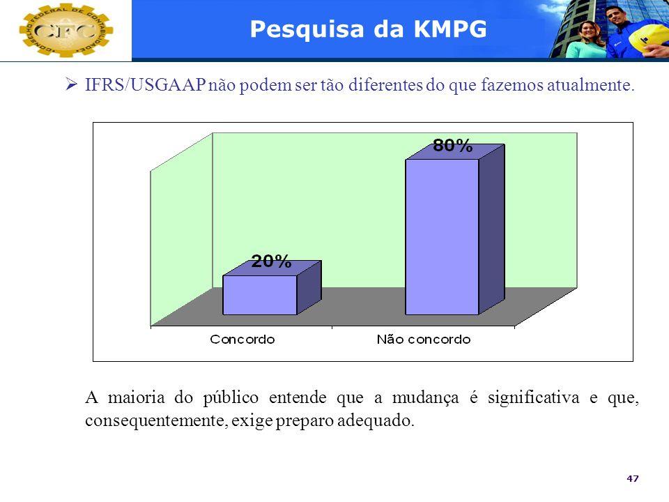 Pesquisa da KMPG IFRS/USGAAP não podem ser tão diferentes do que fazemos atualmente.