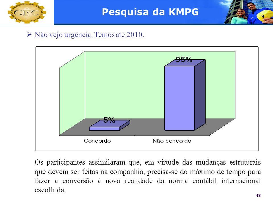Pesquisa da KMPG Não vejo urgência. Temos até 2010.