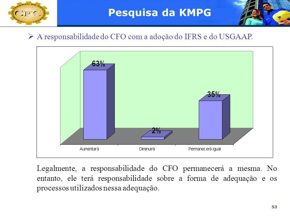 Pesquisa da KMPGA responsabilidade do CFO com a adoção do IFRS e do USGAAP.