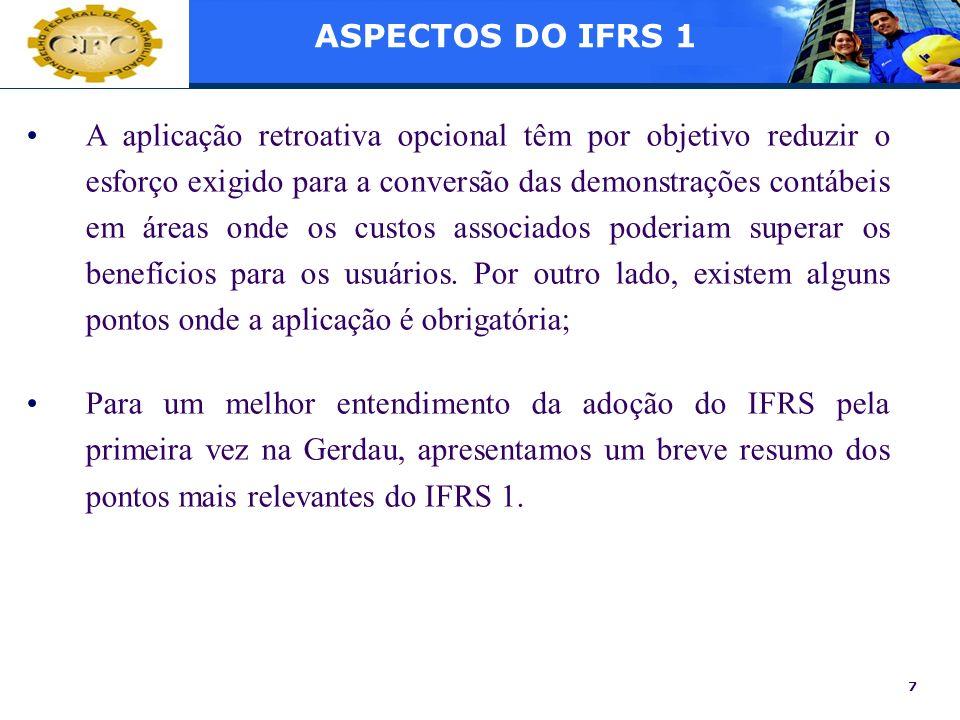 ASPECTOS DO IFRS 1