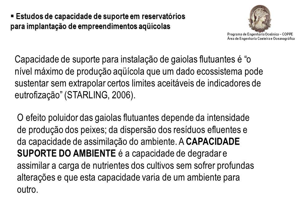 Estudos de capacidade de suporte em reservatórios para implantação de empreendimentos aqüícolas