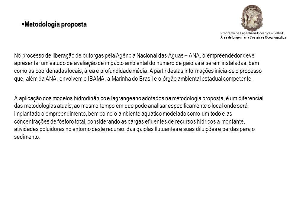 Metodologia proposta Programa de Engenharia Oceânica – COPPE Área de Engenharia Costeira e Oceanográfica.