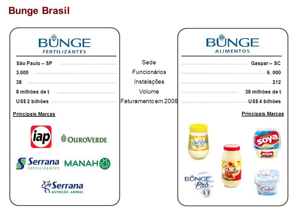 Bunge Brasil Sede Funcionários Instalações Volume Faturamento em 2006