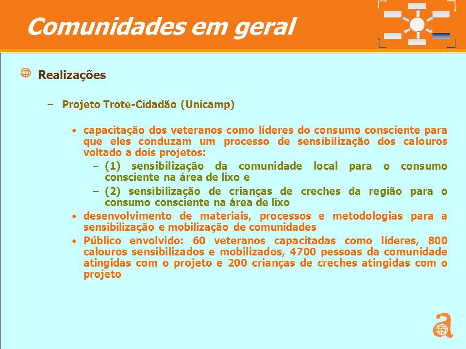 Comunidades em geral Realizações Projeto Trote-Cidadão (Unicamp)