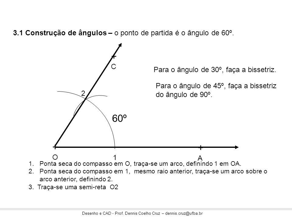 3.1 Construção de ângulos – o ponto de partida é o ângulo de 60º.
