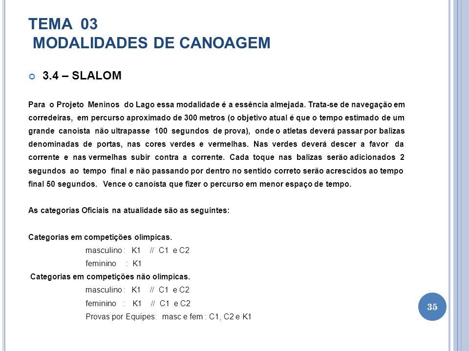 TEMA 03 MODALIDADES DE CANOAGEM