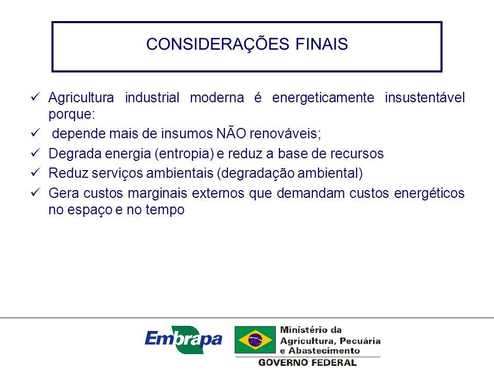 CONSIDERAÇÕES FINAIS Agricultura industrial moderna é energeticamente insustentável porque: depende mais de insumos NÃO renováveis;