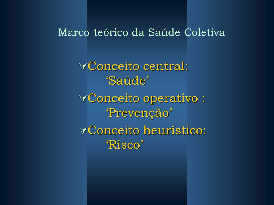 Marco teórico da Saúde Coletiva