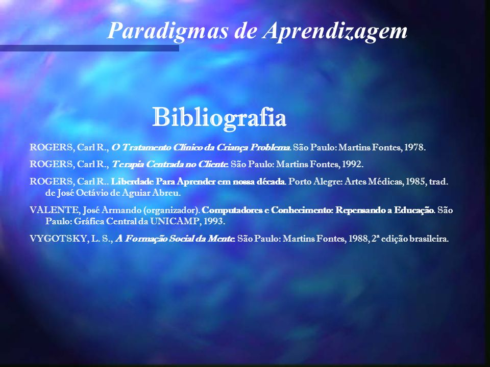 Bibliografia ROGERS, Carl R., O Tratamento Clínico da Criança Problema. São Paulo: Martins Fontes, 1978.