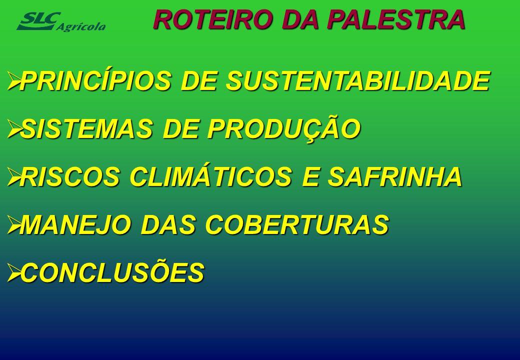 ROTEIRO DA PALESTRA PRINCÍPIOS DE SUSTENTABILIDADE. SISTEMAS DE PRODUÇÃO. RISCOS CLIMÁTICOS E SAFRINHA.