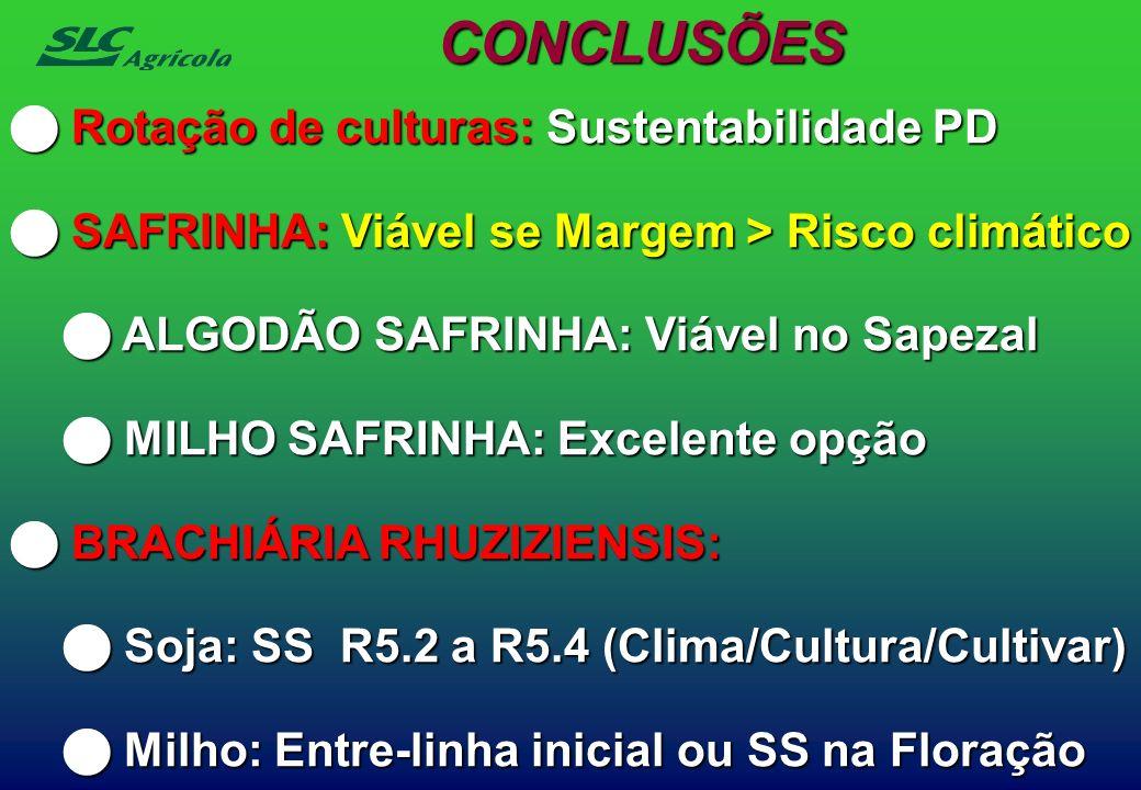 CONCLUSÕES Rotação de culturas: Sustentabilidade PD