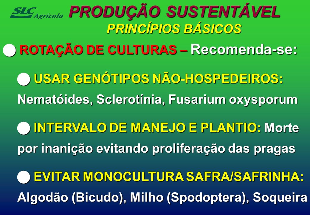 PRODUÇÃO SUSTENTÁVEL PRINCÍPIOS BÁSICOS