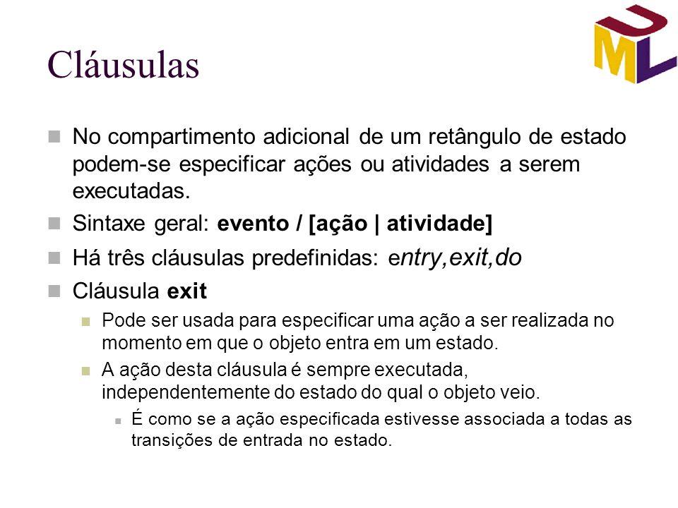 Cláusulas No compartimento adicional de um retângulo de estado podem-se especificar ações ou atividades a serem executadas.