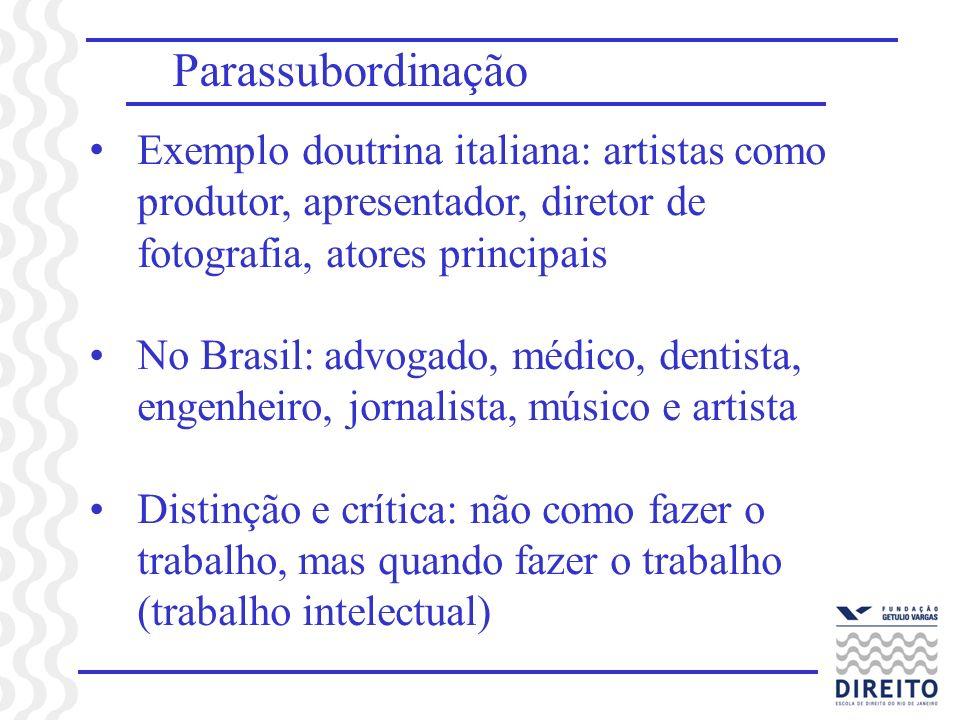 ParassubordinaçãoExemplo doutrina italiana: artistas como produtor, apresentador, diretor de fotografia, atores principais.
