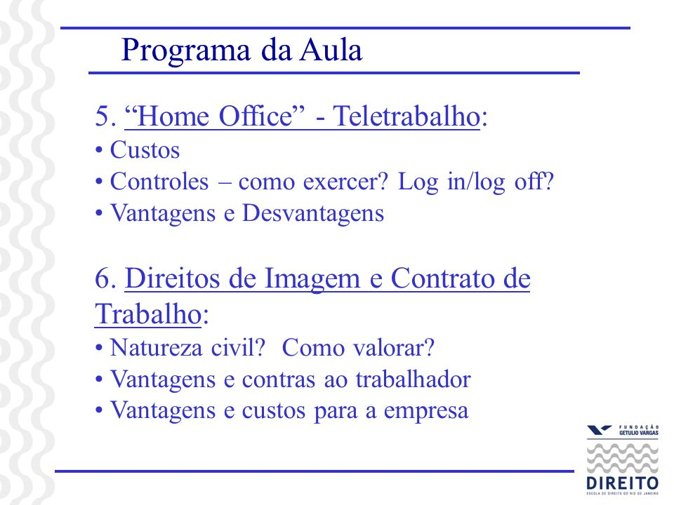 Programa da Aula 5. Home Office - Teletrabalho:
