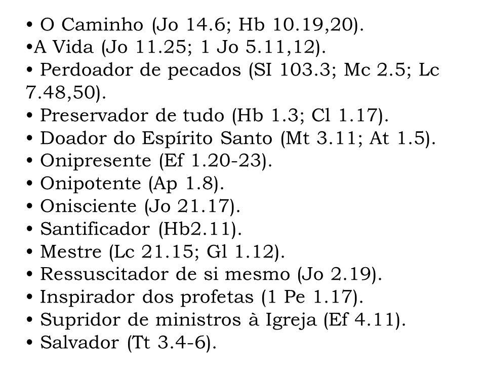 • O Caminho (Jo 14.6; Hb 10.19,20). •A Vida (Jo 11.25; 1 Jo 5.11,12). • Perdoador de pecados (SI 103.3; Mc 2.5; Lc 7.48,50).