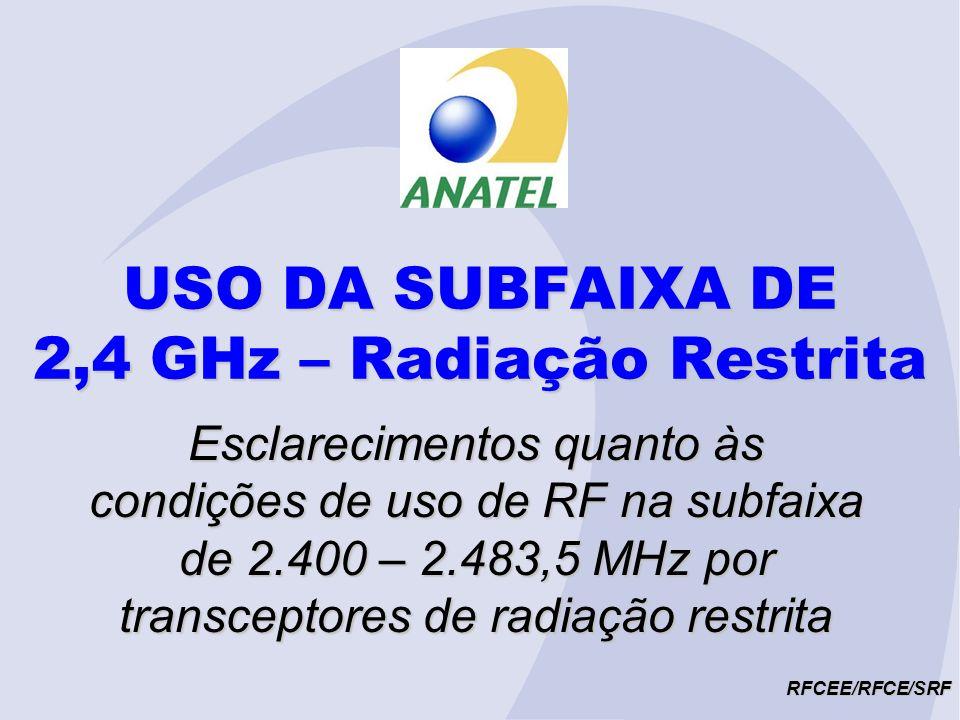 USO DA SUBFAIXA DE 2,4 GHz – Radiação Restrita