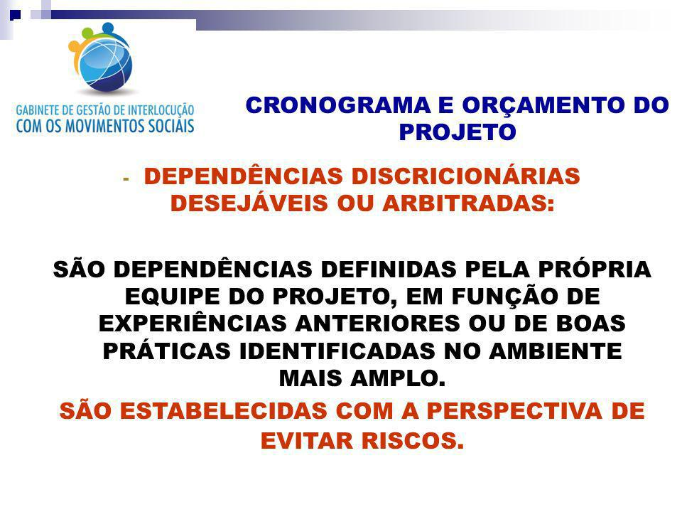 DEPENDÊNCIAS DISCRICIONÁRIAS DESEJÁVEIS OU ARBITRADAS: