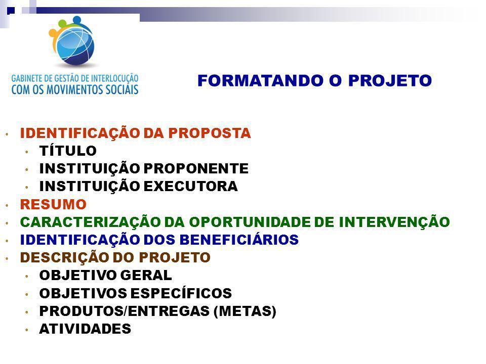 FORMATANDO O PROJETO IDENTIFICAÇÃO DA PROPOSTA TÍTULO