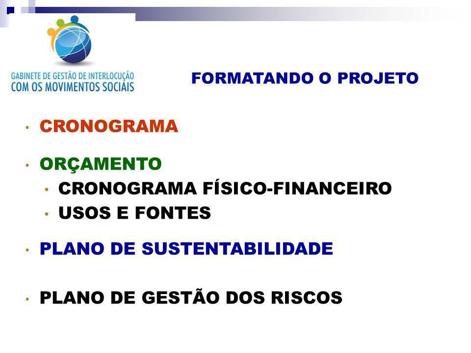 CRONOGRAMA FÍSICO-FINANCEIRO USOS E FONTES PLANO DE SUSTENTABILIDADE