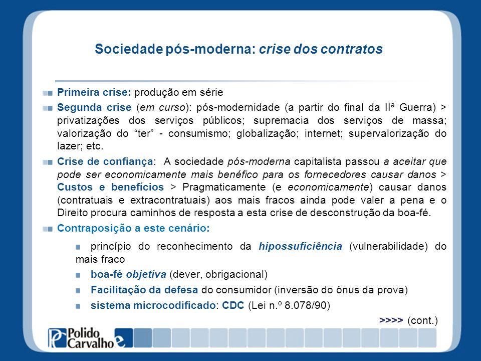 Sociedade pós-moderna: crise dos contratos