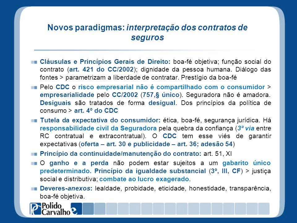 Novos paradigmas: interpretação dos contratos de seguros