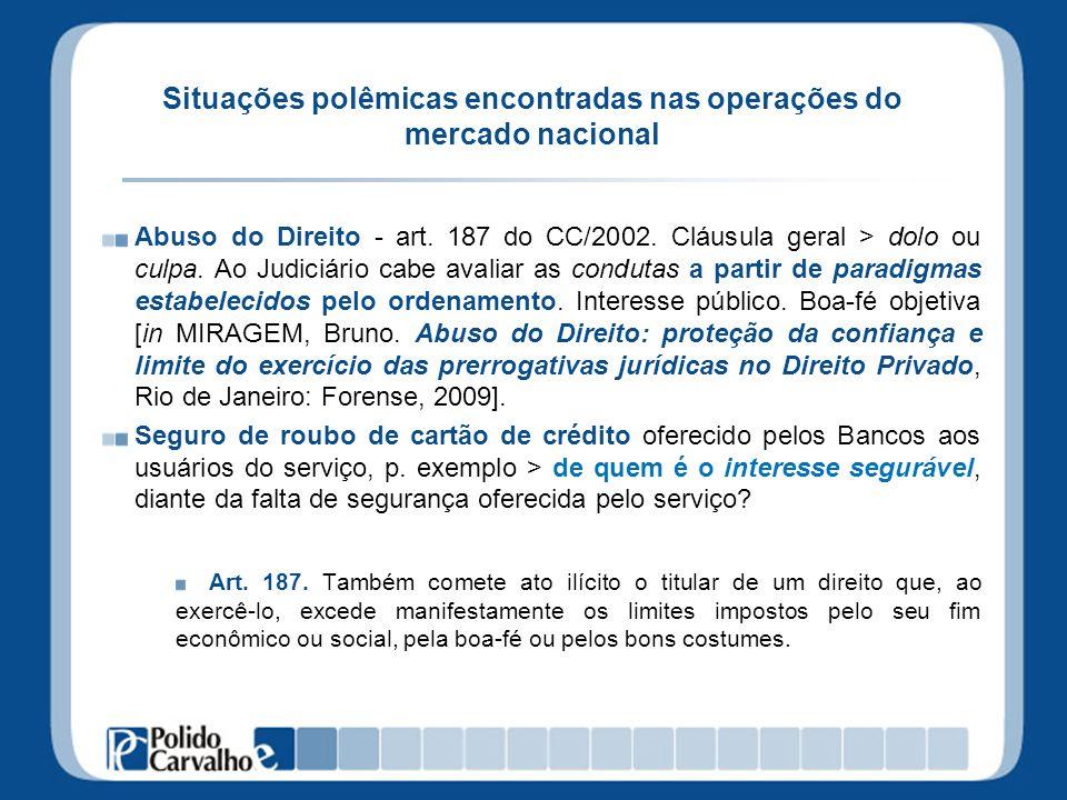 Situações polêmicas encontradas nas operações do mercado nacional