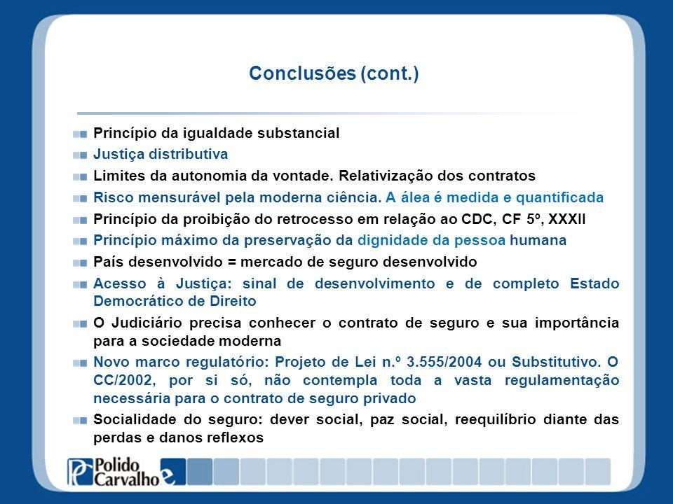 Conclusões (cont.) Princípio da igualdade substancial