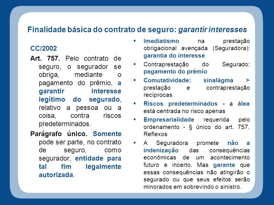 Finalidade básica do contrato de seguro: garantir interesses