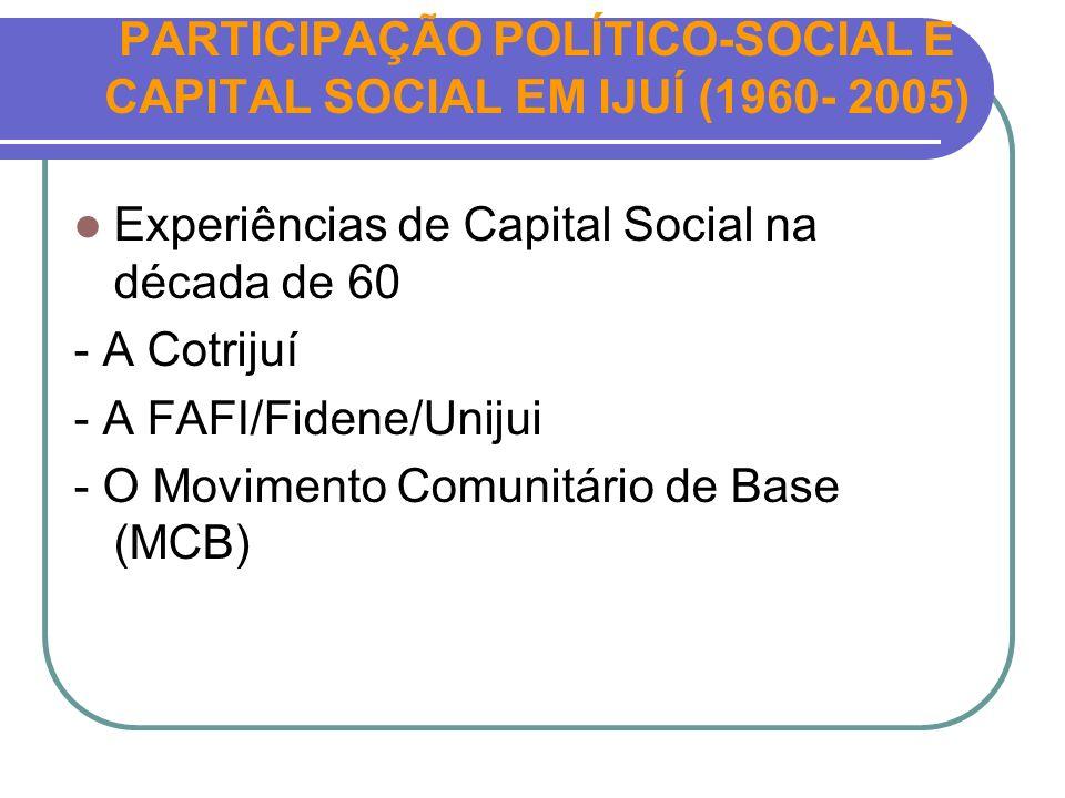 PARTICIPAÇÃO POLÍTICO-SOCIAL E CAPITAL SOCIAL EM IJUÍ (1960- 2005)