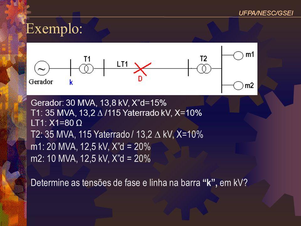 Exemplo: T2: 35 MVA, 115 Yaterrado / 13,2 ∆ kV, X=10%