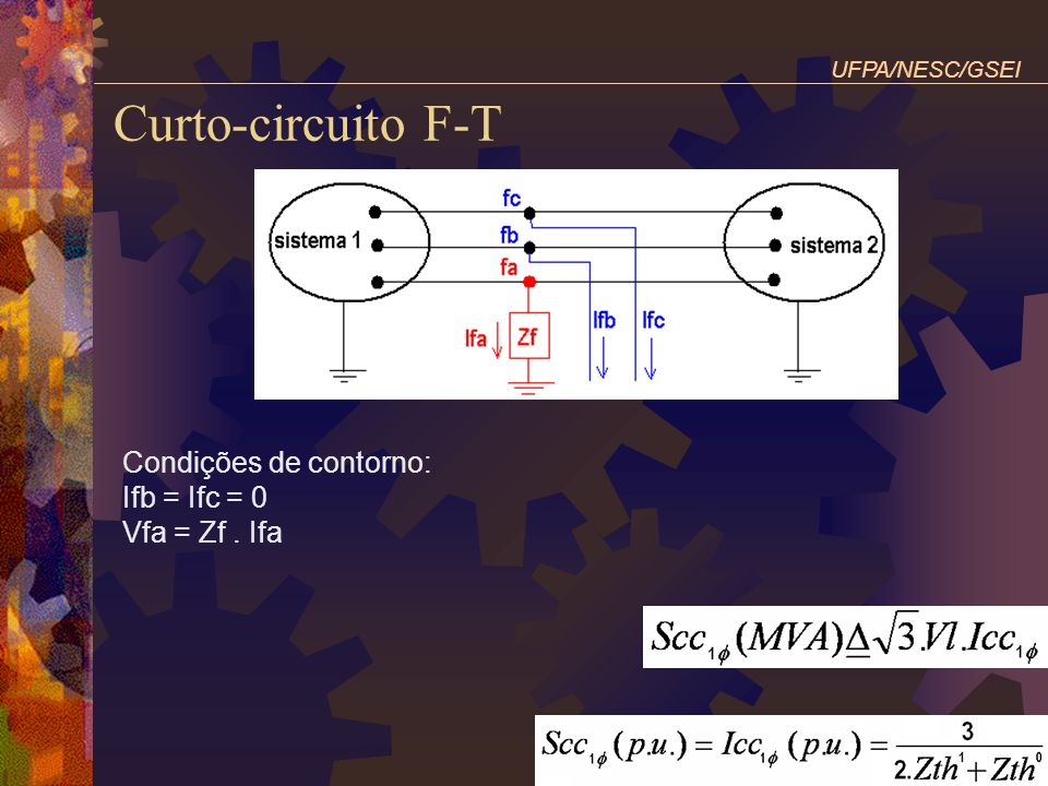 Curto-circuito F-T Condições de contorno: Ifb = Ifc = 0 Vfa = Zf . Ifa