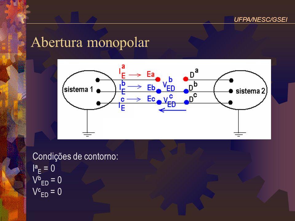 Abertura monopolar Condições de contorno: IaE = 0 VbED = 0 VcED = 0