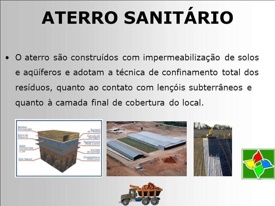 O aterro são construídos com impermeabilização de solos e aqüíferos e adotam a técnica de confinamento total dos resíduos, quanto ao contato com lençóis subterrâneos e quanto à camada final de cobertura do local.